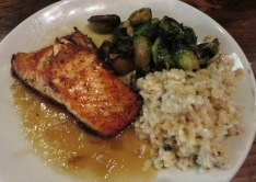salmon, Brussels sprouts & risotto