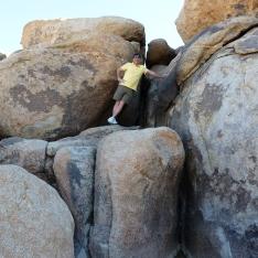 David climbs the boulders