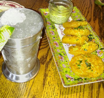 Margarita julep and fried green tomatoes