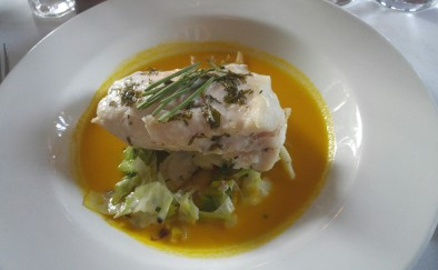 tile fish with carrot broth