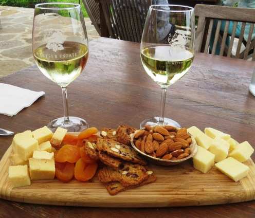 chardonnay and cheese board