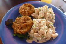 fried green tomatoes & shrimp salad